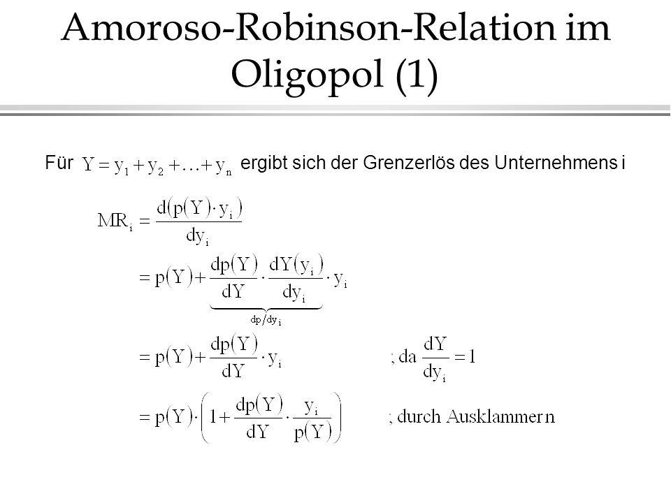 Amoroso-Robinson-Relation im Oligopol (1) Fürergibt sich der Grenzerlös des Unternehmens i