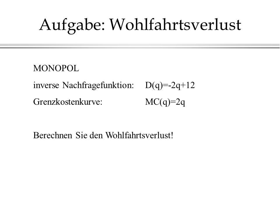 Aufgabe: Wohlfahrtsverlust MONOPOL inverse Nachfragefunktion: D(q)=-2q+12 Grenzkostenkurve:MC(q)=2q Berechnen Sie den Wohlfahrtsverlust!