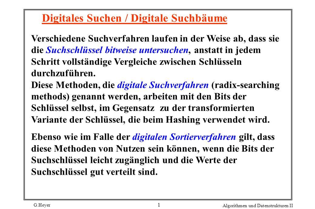G.Heyer Algorithmen und Datenstrukturen II 12 Digitale Such-Tries Sehr oft liegt der Fall vor, dass Suchschlüssel sehr lang sind, vielleicht zwanzig Zeichen oder mehr.