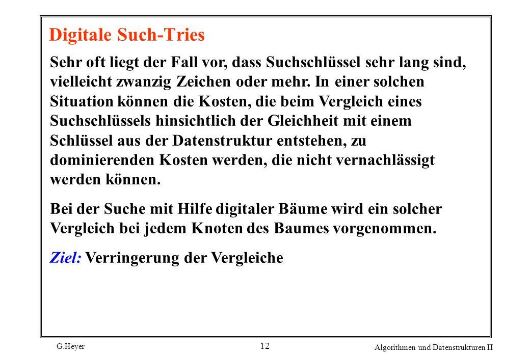 G.Heyer Algorithmen und Datenstrukturen II 12 Digitale Such-Tries Sehr oft liegt der Fall vor, dass Suchschlüssel sehr lang sind, vielleicht zwanzig Z