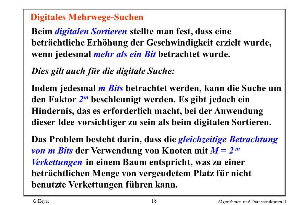 G.Heyer Algorithmen und Datenstrukturen II 18 Digitales Mehrwege-Suchen Beim digitalen Sortieren stellte man fest, dass eine beträchtliche Erhöhung de