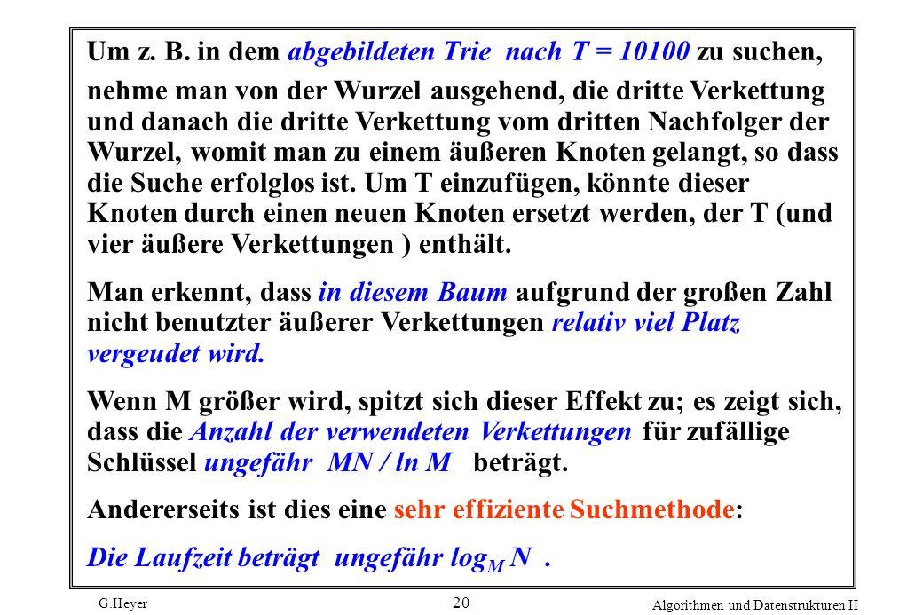 G.Heyer Algorithmen und Datenstrukturen II 20 Um z. B. in dem abgebildeten Trie nach T = 10100 zu suchen, nehme man von der Wurzel ausgehend, die drit