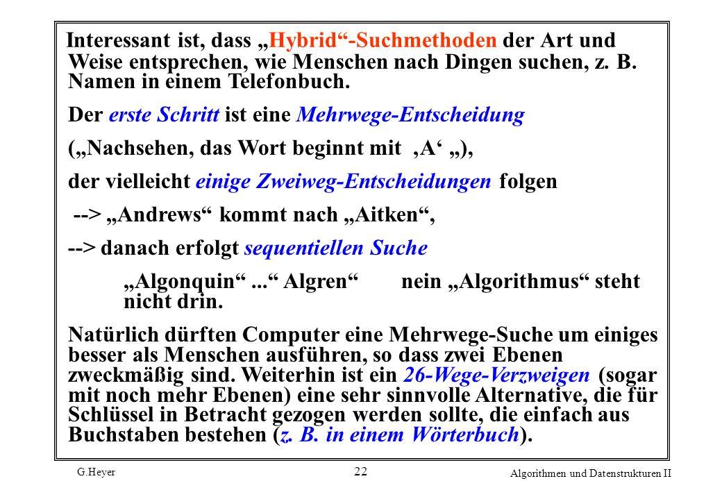 G.Heyer Algorithmen und Datenstrukturen II 22 Interessant ist, dass Hybrid-Suchmethoden der Art und Weise entsprechen, wie Menschen nach Dingen suchen