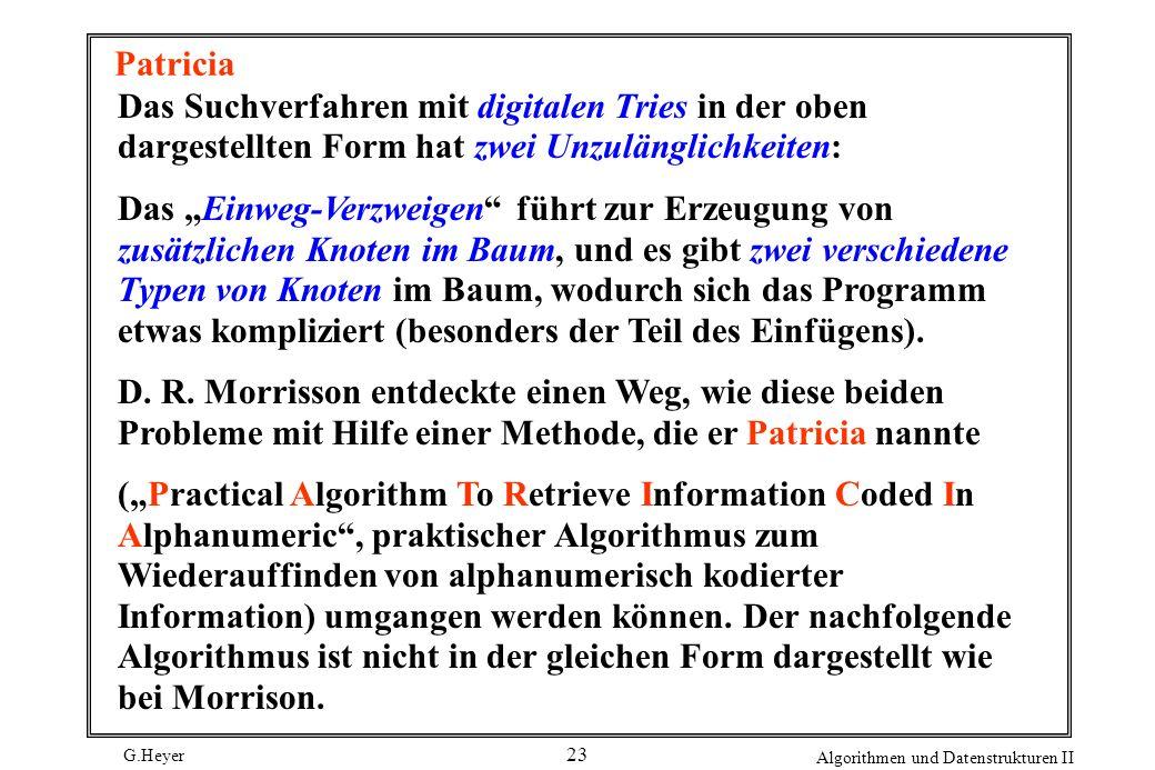 G.Heyer Algorithmen und Datenstrukturen II 23 Patricia Das Suchverfahren mit digitalen Tries in der oben dargestellten Form hat zwei Unzulänglichkeite