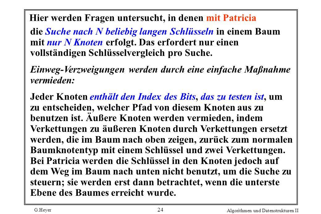 G.Heyer Algorithmen und Datenstrukturen II 24 Hier werden Fragen untersucht, in denen mit Patricia die Suche nach N beliebig langen Schlüsseln in eine