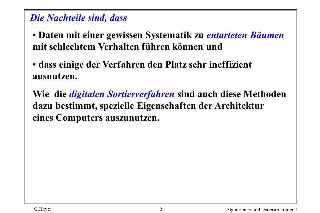 G.Heyer Algorithmen und Datenstrukturen II 3 Die Nachteile sind, dass Daten mit einer gewissen Systematik zu entarteten Bäumen mit schlechtem Verhalte