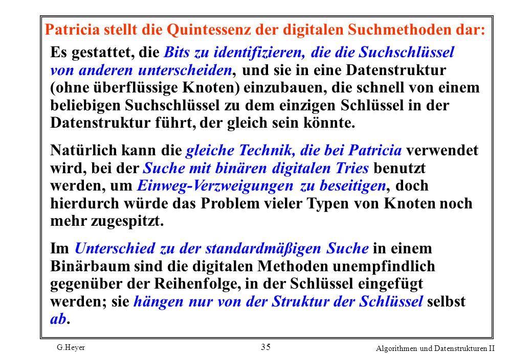 G.Heyer Algorithmen und Datenstrukturen II 35 Patricia stellt die Quintessenz der digitalen Suchmethoden dar: Es gestattet, die Bits zu identifizieren