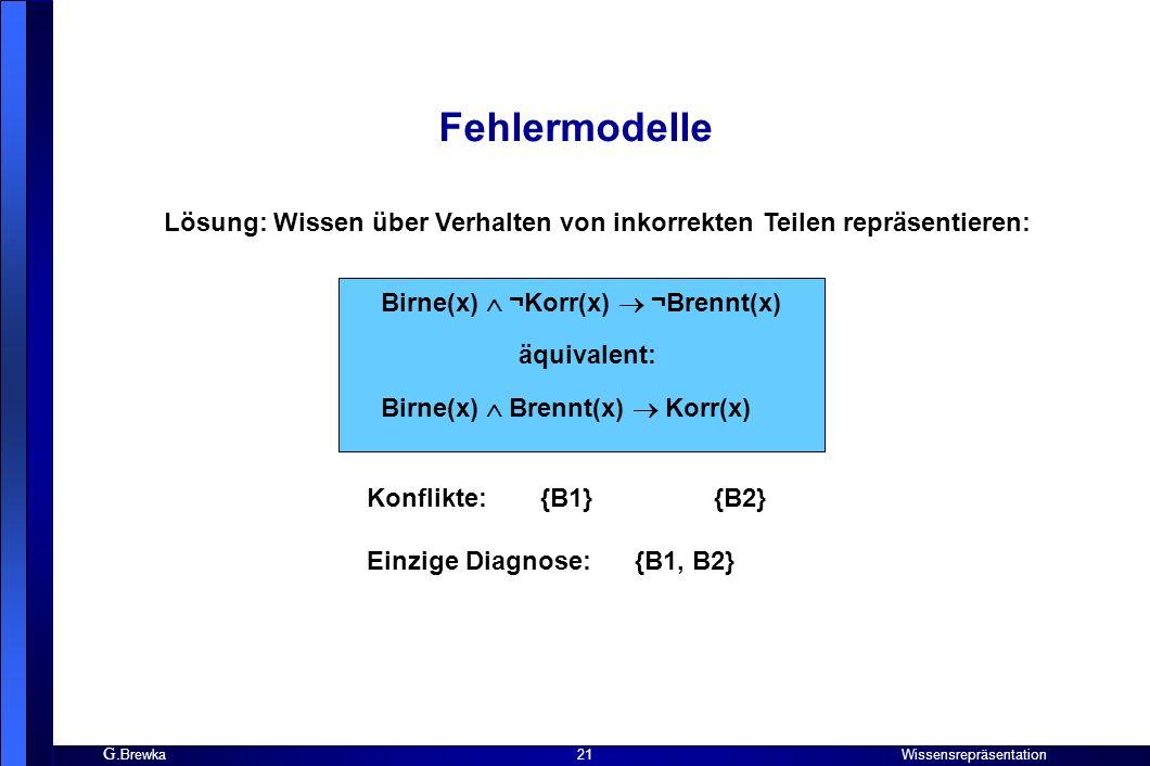 G. Brewka Wissensrepräsentation 21 Fehlermodelle Lösung: Wissen über Verhalten von inkorrekten Teilen repräsentieren: Birne(x) ¬Korr(x) ¬Brennt(x) äqu