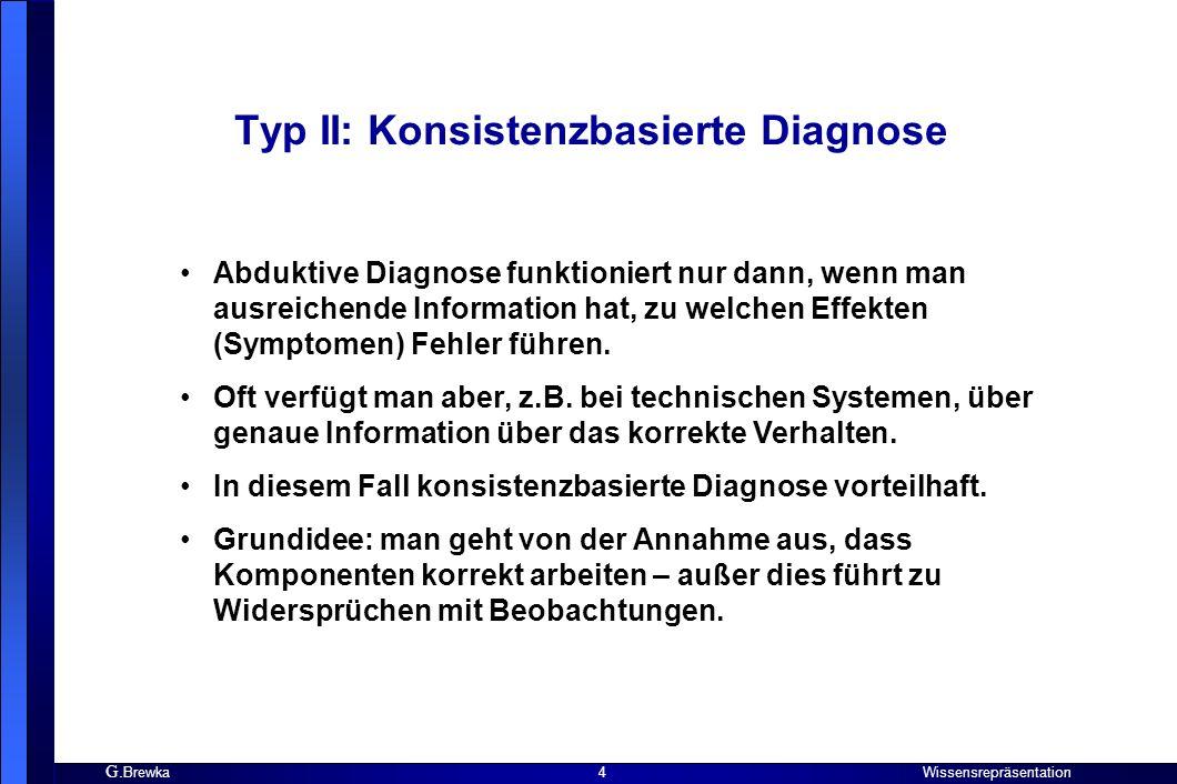 G. Brewka Wissensrepräsentation 4 Typ II: Konsistenzbasierte Diagnose Abduktive Diagnose funktioniert nur dann, wenn man ausreichende Information hat,