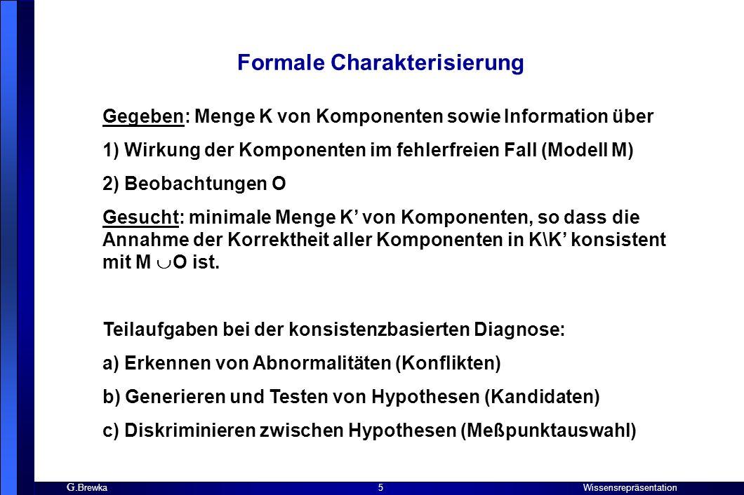 G. Brewka Wissensrepräsentation 5 Formale Charakterisierung Gegeben: Menge K von Komponenten sowie Information über 1) Wirkung der Komponenten im fehl