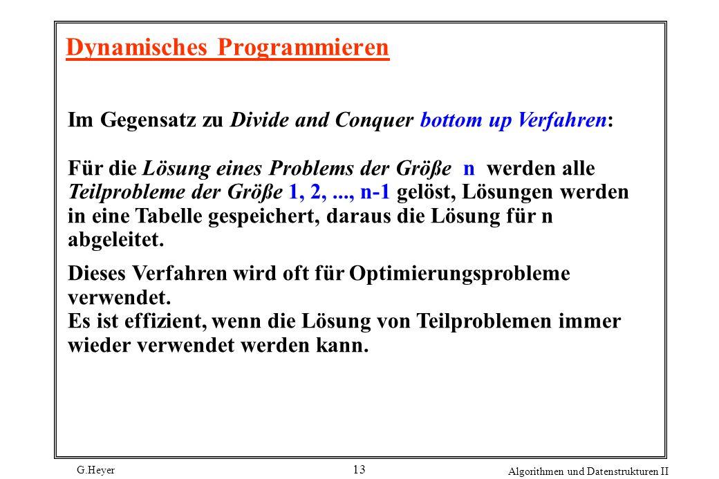 G.Heyer Algorithmen und Datenstrukturen II 13 Dynamisches Programmieren Im Gegensatz zu Divide and Conquer bottom up Verfahren: Für die Lösung eines Problems der Größe n werden alle Teilprobleme der Größe 1, 2,..., n-1 gelöst, Lösungen werden in eine Tabelle gespeichert, daraus die Lösung für n abgeleitet.