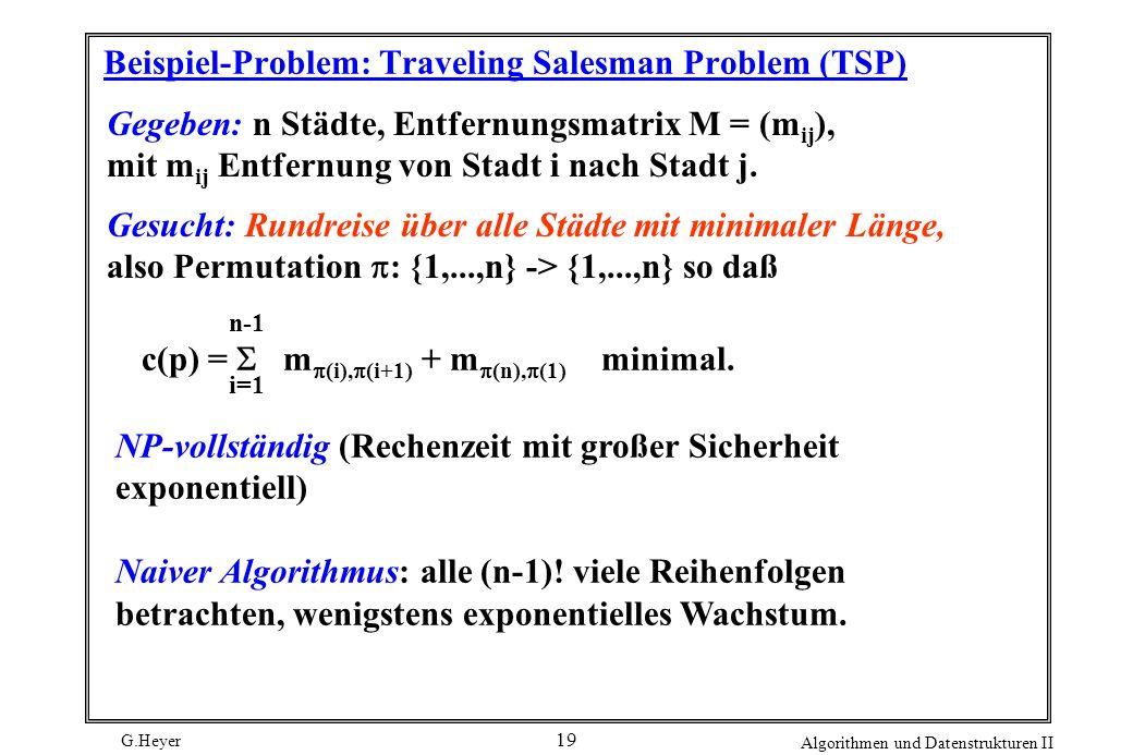 G.Heyer Algorithmen und Datenstrukturen II 19 Beispiel-Problem: Traveling Salesman Problem (TSP) Gegeben: n Städte, Entfernungsmatrix M = (m ij ), mit m ij Entfernung von Stadt i nach Stadt j.