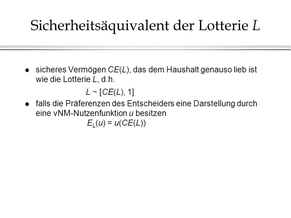 Sicherheitsäquivalent der Lotterie L l sicheres Vermögen CE(L), das dem Haushalt genauso lieb ist wie die Lotterie L, d.h. L ~ [CE(L), 1] l falls die