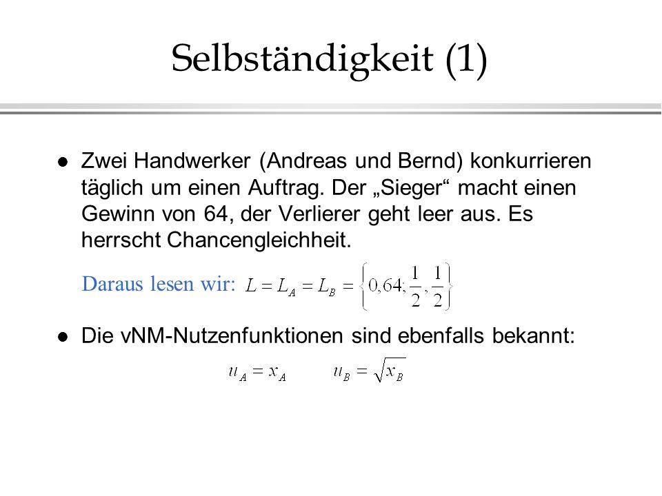 Selbständigkeit (1) l Zwei Handwerker (Andreas und Bernd) konkurrieren täglich um einen Auftrag. Der Sieger macht einen Gewinn von 64, der Verlierer g