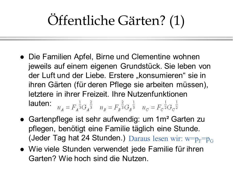 Öffentliche Gärten? (1) l Die Familien Apfel, Birne und Clementine wohnen jeweils auf einem eigenen Grundstück. Sie leben von der Luft und der Liebe.