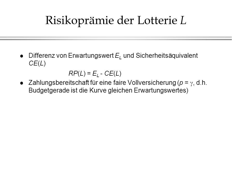 Risikoprämie der Lotterie L l Differenz von Erwartungswert E L und Sicherheitsäquivalent CE(L) RP(L) = E L - CE(L) Zahlungsbereitschaft für eine faire