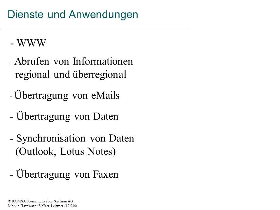 © KOMSA Kommunikation Sachsen AG Mobile Hardware / Volker Leistner /12/2001 Dienste und Anwendungen - Übertragung von Daten - Übertragung von eMails - Übertragung von Faxen - Abrufen von Informationen regional und überregional - Synchronisation von Daten (Outlook, Lotus Notes) - WWW