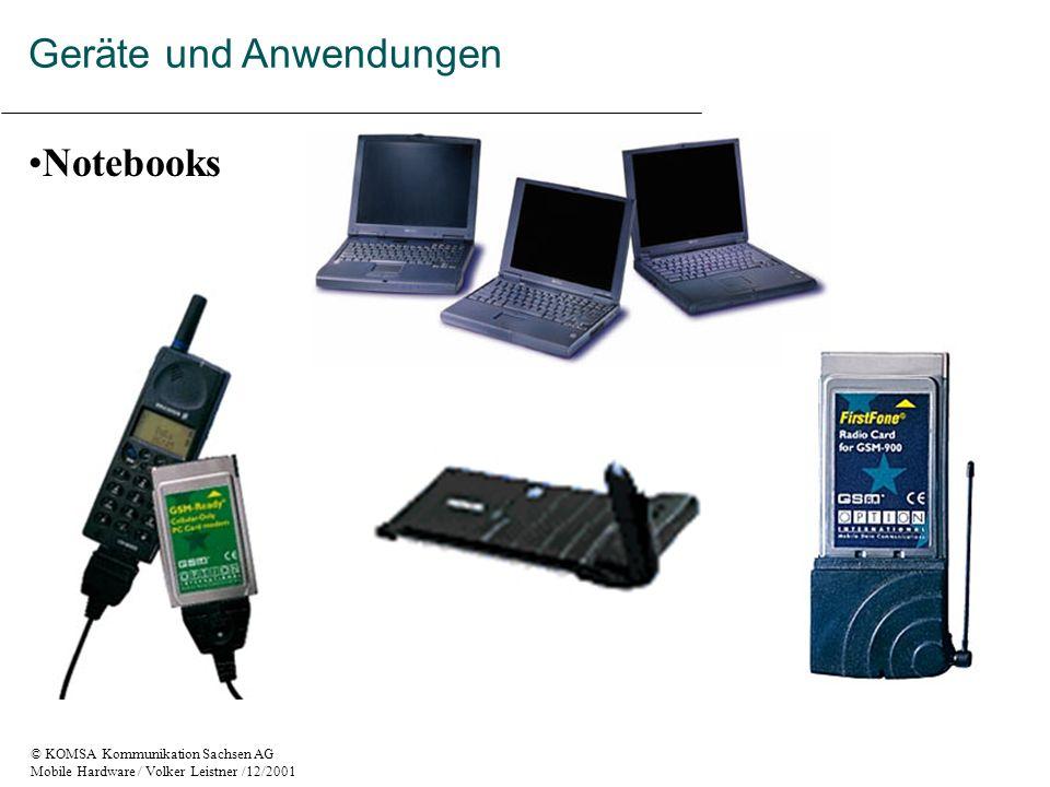© KOMSA Kommunikation Sachsen AG Mobile Hardware / Volker Leistner /12/2001 Notebooks Geräte und Anwendungen