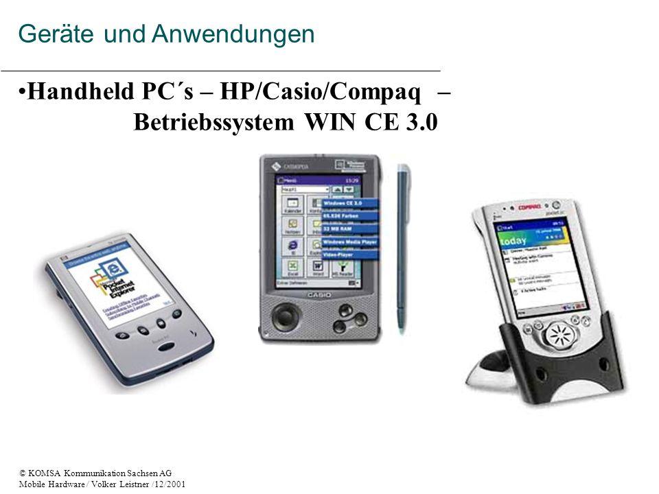 © KOMSA Kommunikation Sachsen AG Mobile Hardware / Volker Leistner /12/2001 Handheld PC´s – HP/Casio/Compaq – Betriebssystem WIN CE 3.0 Geräte und Anwendungen