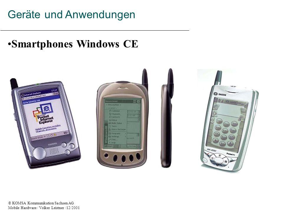 © KOMSA Kommunikation Sachsen AG Mobile Hardware / Volker Leistner /12/2001 Smartphones Windows CE Geräte und Anwendungen