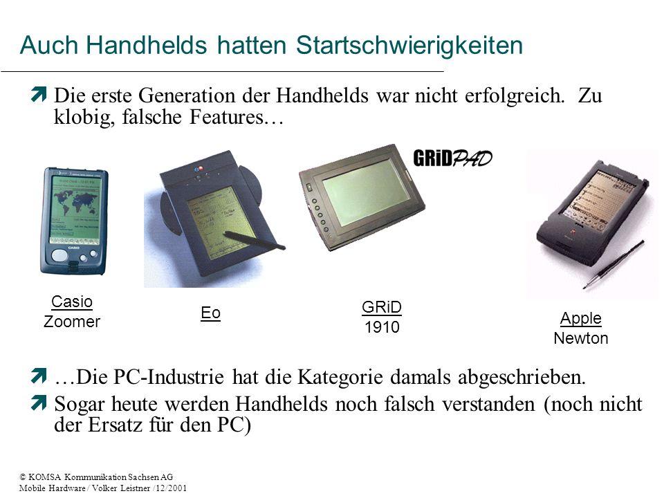 © KOMSA Kommunikation Sachsen AG Mobile Hardware / Volker Leistner /12/2001 Entwicklung der mobilen Kommunikation GSM 9,6 kBit/Sekunde HSCSD bis zu 43,2 (56) kBit/Sekunde GPRS bis zu 171,2 kBit/Sekunde UMTS bis zu 384 kBit/s mobil und 2 mBit/in Home Zones