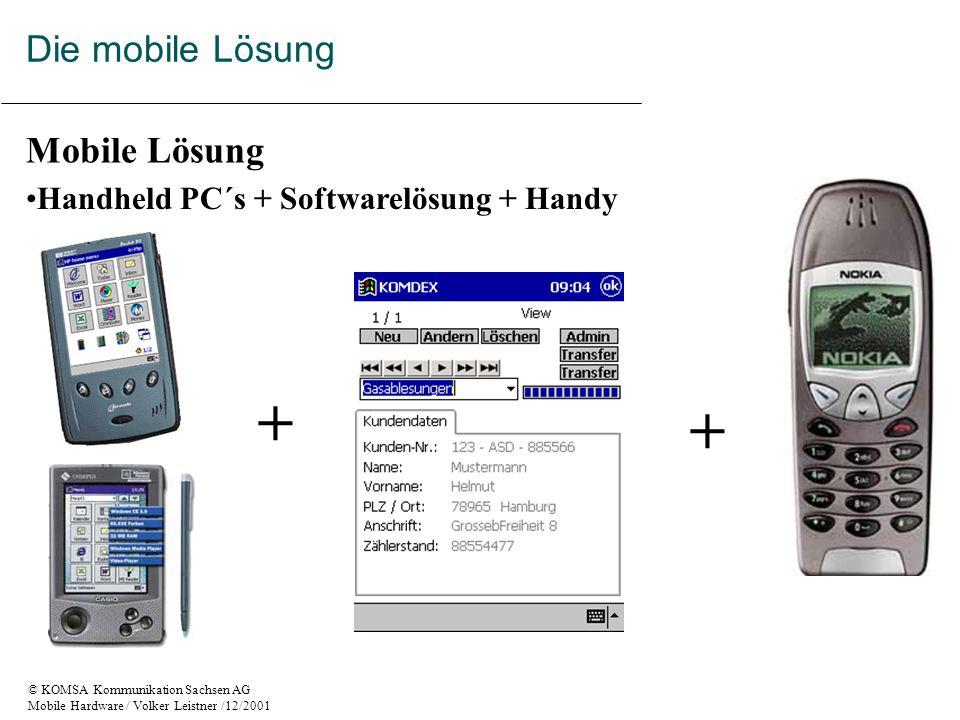 © KOMSA Kommunikation Sachsen AG Mobile Hardware / Volker Leistner /12/2001 Handheld PC´s + Softwarelösung + Handy Mobile Lösung + + Die mobile Lösung