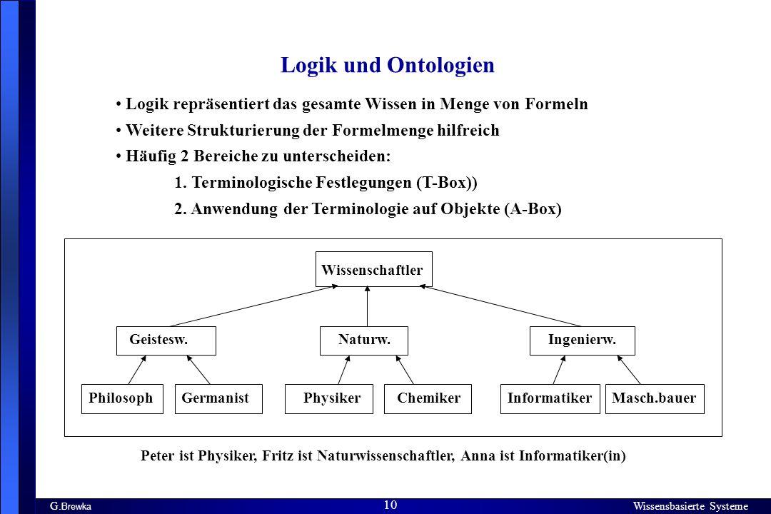 Wissensbasierte Systeme 10 G. Brewka Wissensbasierte Systeme 10 Logik und Ontologien Logik repräsentiert das gesamte Wissen in Menge von Formeln Weite