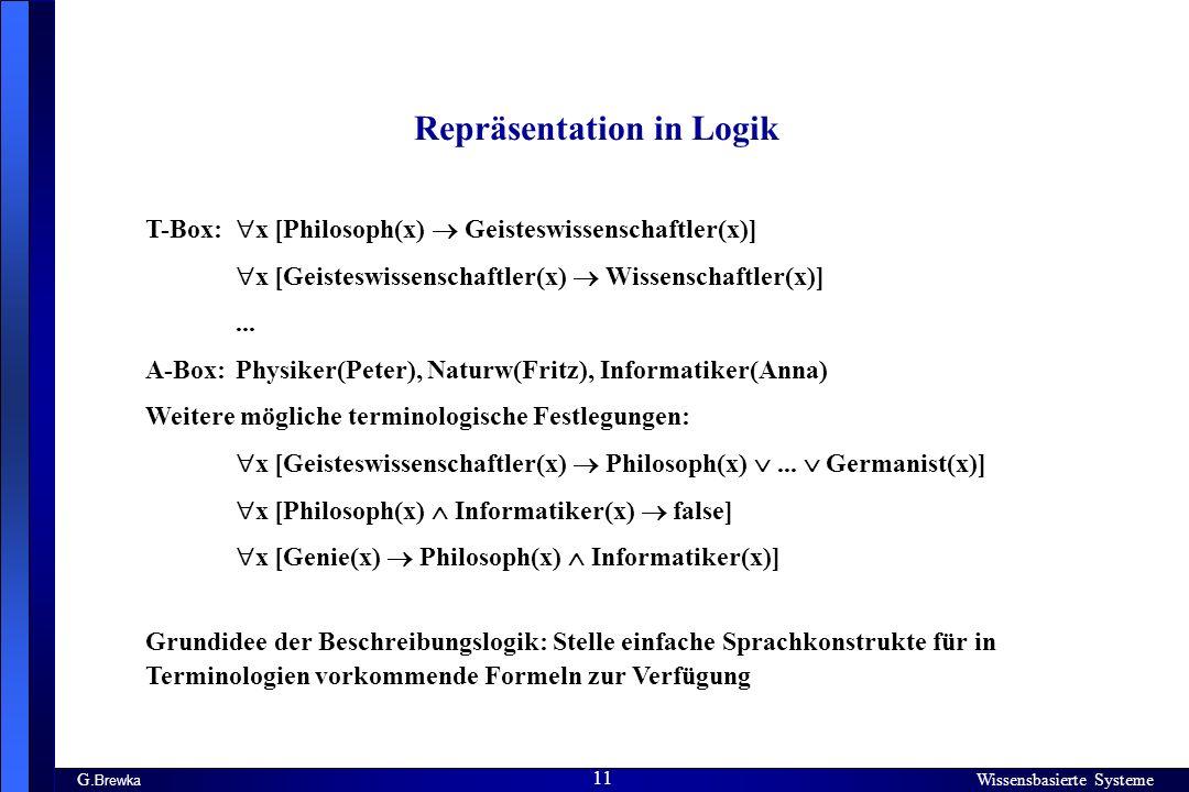 Wissensbasierte Systeme 11 G. Brewka Wissensbasierte Systeme 11 Repräsentation in Logik T-Box: x [Philosoph(x) Geisteswissenschaftler(x)] x [Geisteswi