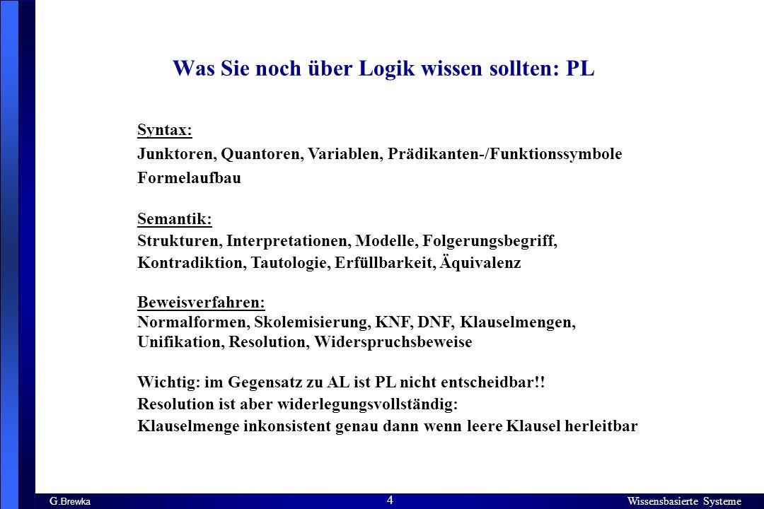 Wissensbasierte Systeme 4 G. Brewka Wissensbasierte Systeme 4 Was Sie noch über Logik wissen sollten: PL Syntax: Junktoren, Quantoren, Variablen, Präd