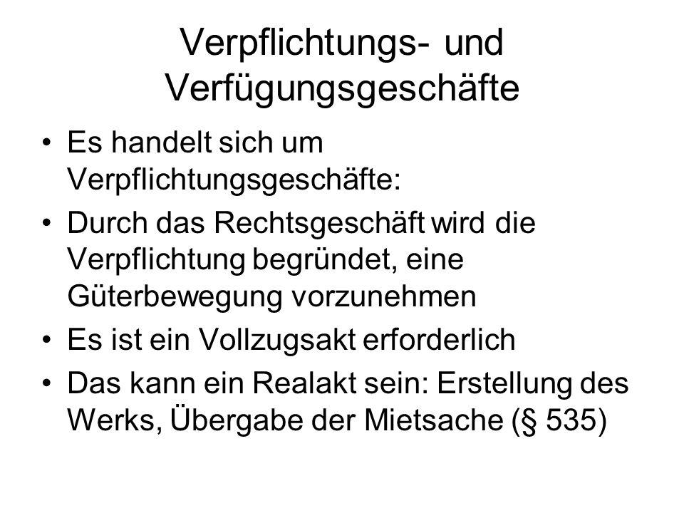 Verpflichtungs- und Verfügungsgeschäft Anders, wenn das Verpflichtungsgeschäft zu einer Verfügung verpflichtet: Übertragung, Belastung, Änderung oder Aufhebung eines Rechts Dazu ist nach deutschem Recht ein separates Rechtsgeschäft erforderlich Sog.