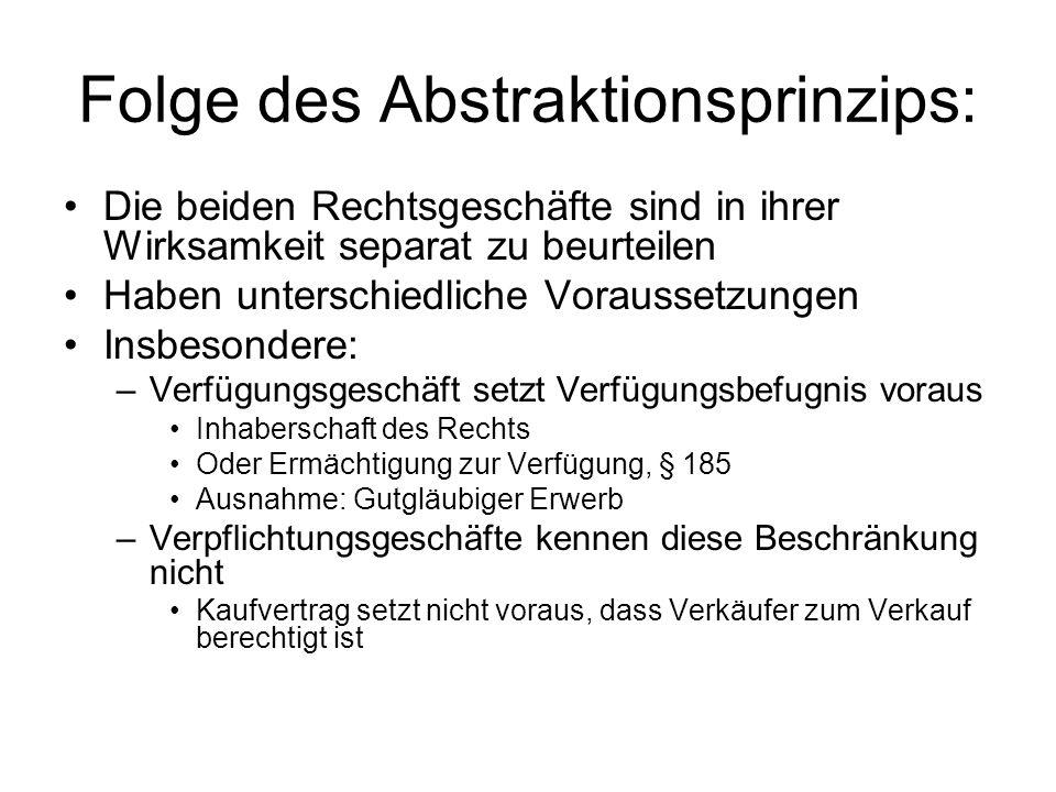Folge des Abstraktionsprinzips: Die beiden Rechtsgeschäfte sind in ihrer Wirksamkeit separat zu beurteilen Haben unterschiedliche Voraussetzungen Insb