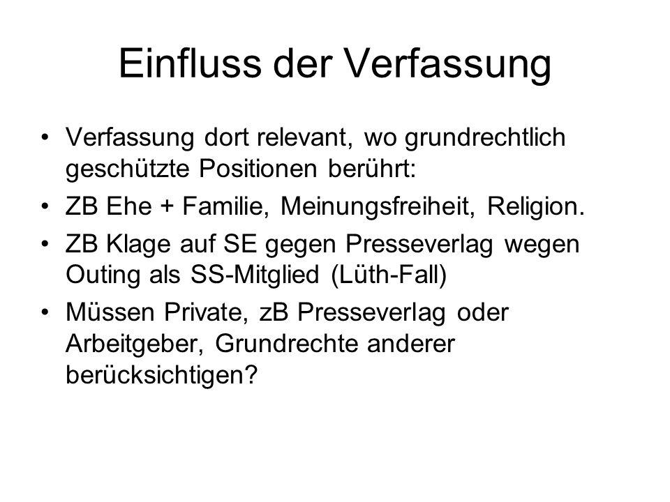 Einfluss der Verfassung Verfassung dort relevant, wo grundrechtlich geschützte Positionen berührt: ZB Ehe + Familie, Meinungsfreiheit, Religion. ZB Kl