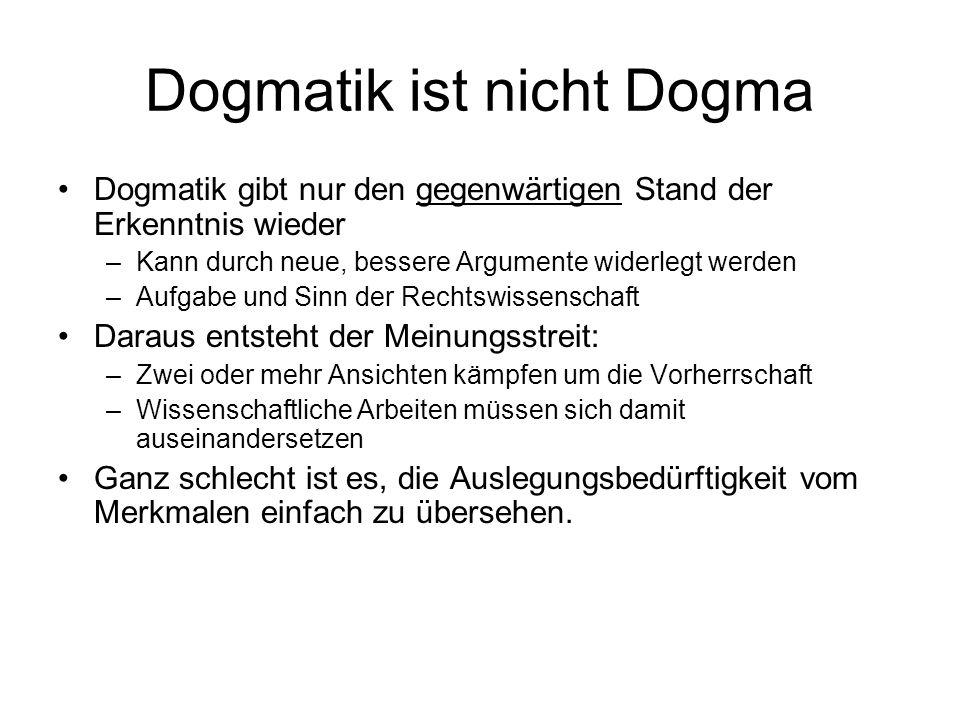 Dogmatik ist nicht Dogma Dogmatik gibt nur den gegenwärtigen Stand der Erkenntnis wieder –Kann durch neue, bessere Argumente widerlegt werden –Aufgabe