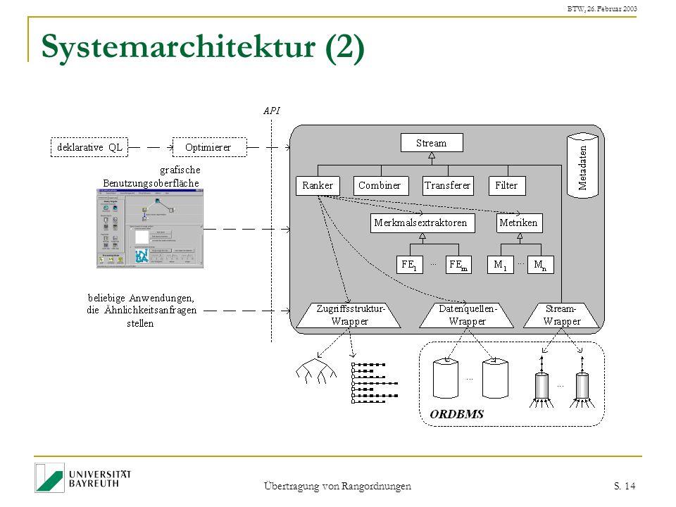 BTW, 26. Februar 2003 Übertragung von Rangordnungen S. 14 Systemarchitektur (2)