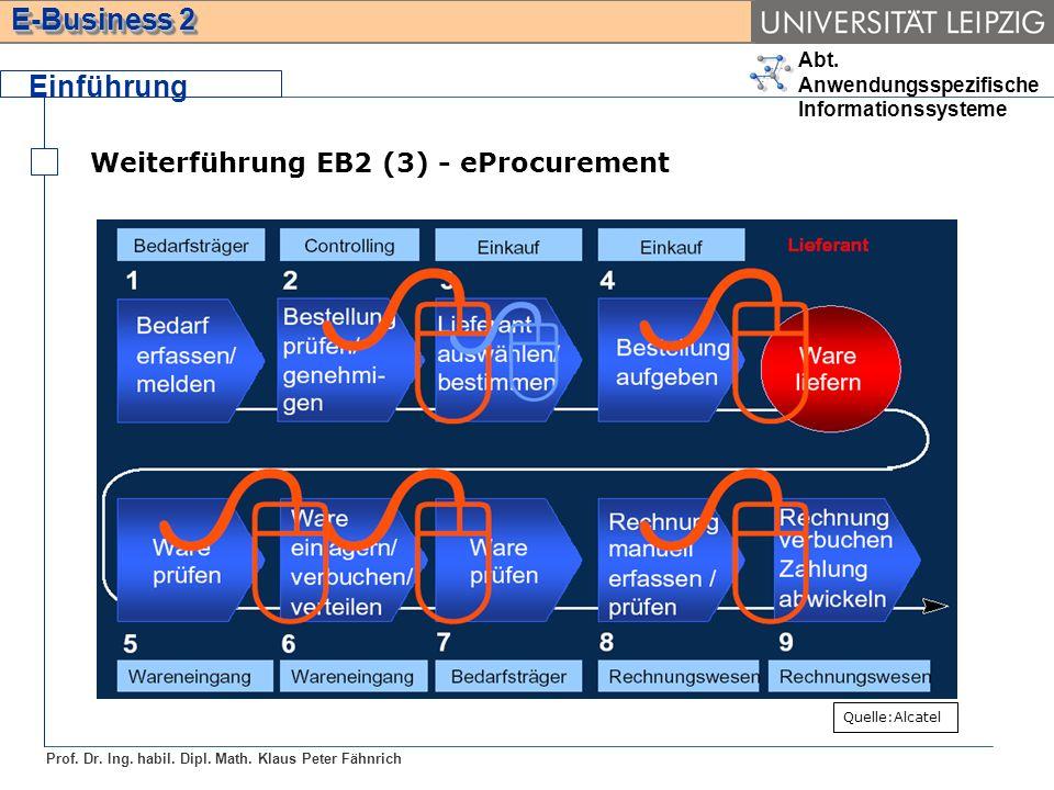 Abt. Anwendungsspezifische Informationssysteme Prof. Dr. Ing. habil. Dipl. Math. Klaus Peter Fähnrich E-Business 2 Weiterführung EB2 (3) - eProcuremen