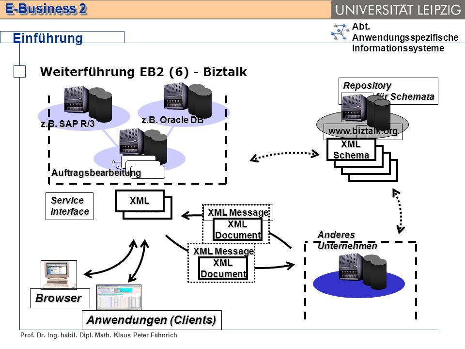 Abt. Anwendungsspezifische Informationssysteme Prof. Dr. Ing. habil. Dipl. Math. Klaus Peter Fähnrich E-Business 2 Weiterführung EB2 (6) - Biztalk Ein