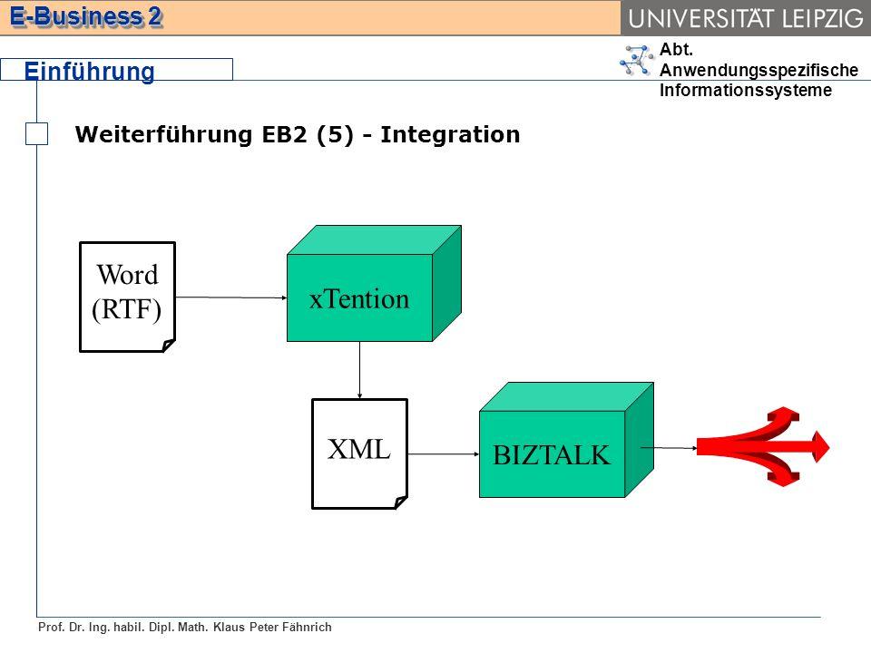 Abt. Anwendungsspezifische Informationssysteme Prof. Dr. Ing. habil. Dipl. Math. Klaus Peter Fähnrich E-Business 2 Weiterführung EB2 (5) - Integration