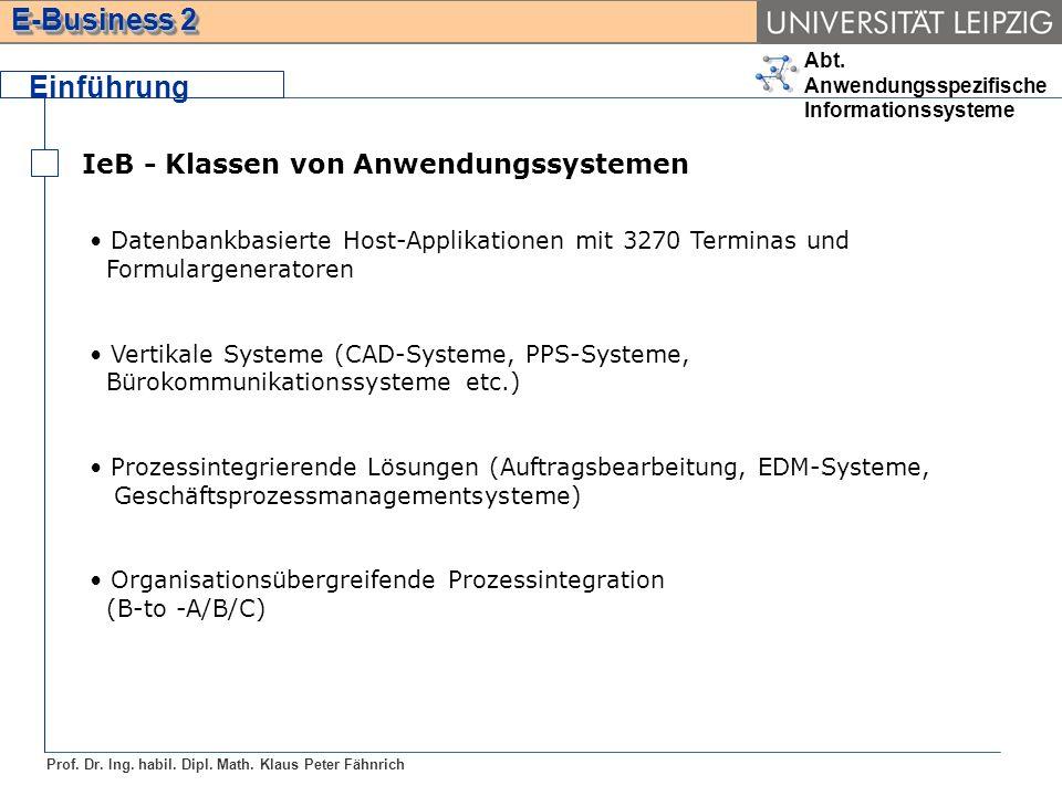 Abt. Anwendungsspezifische Informationssysteme Prof. Dr. Ing. habil. Dipl. Math. Klaus Peter Fähnrich E-Business 2 Einführung IeB - Klassen von Anwend