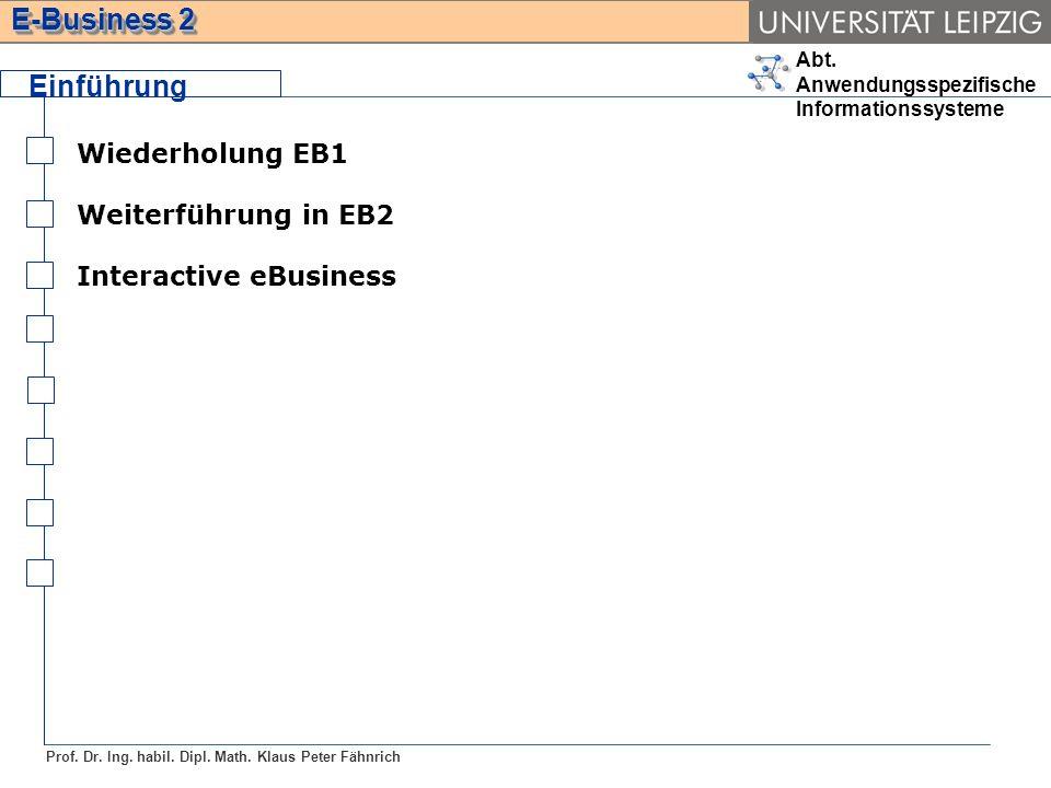 Abt. Anwendungsspezifische Informationssysteme Prof. Dr. Ing. habil. Dipl. Math. Klaus Peter Fähnrich E-Business 2 Wiederholung EB1 Weiterführung in E