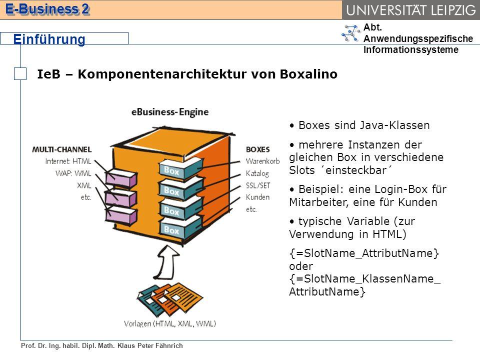 Abt. Anwendungsspezifische Informationssysteme Prof. Dr. Ing. habil. Dipl. Math. Klaus Peter Fähnrich E-Business 2 Einführung IeB – Komponentenarchite