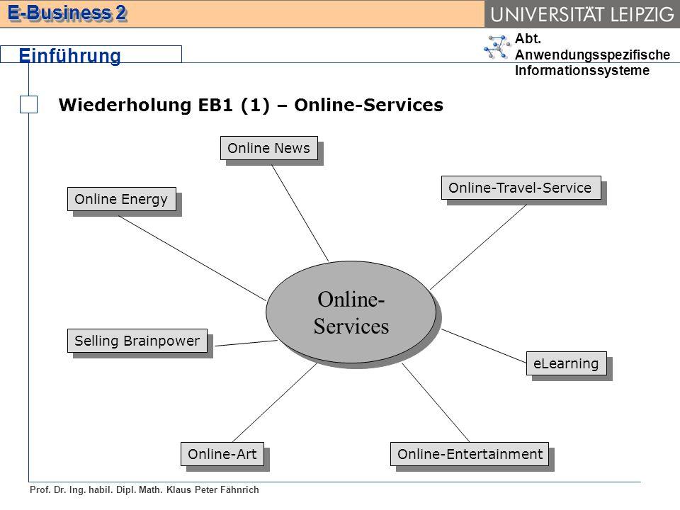 Abt. Anwendungsspezifische Informationssysteme Prof. Dr. Ing. habil. Dipl. Math. Klaus Peter Fähnrich E-Business 2 Wiederholung EB1 (1) – Online-Servi