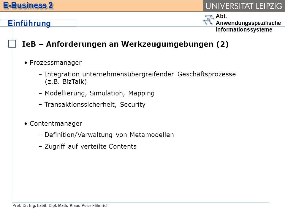 Abt. Anwendungsspezifische Informationssysteme Prof. Dr. Ing. habil. Dipl. Math. Klaus Peter Fähnrich E-Business 2 Einführung IeB – Anforderungen an W