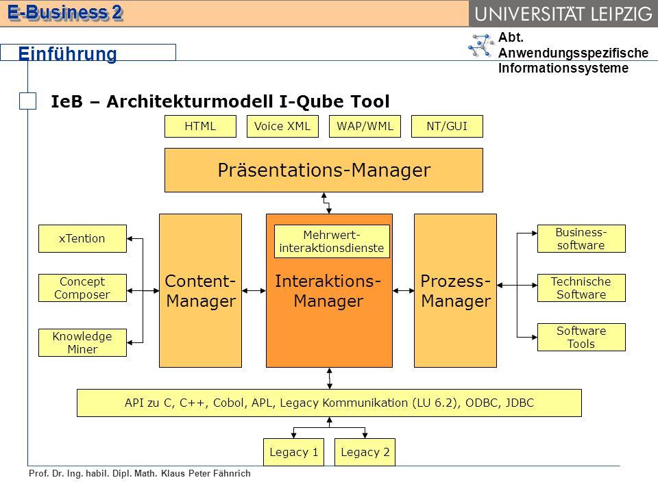 Abt. Anwendungsspezifische Informationssysteme Prof. Dr. Ing. habil. Dipl. Math. Klaus Peter Fähnrich E-Business 2 Einführung IeB – Architekturmodell