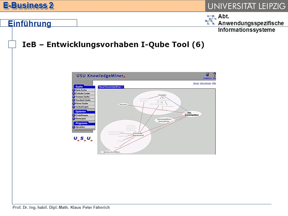 Abt. Anwendungsspezifische Informationssysteme Prof. Dr. Ing. habil. Dipl. Math. Klaus Peter Fähnrich E-Business 2 Einführung IeB – Entwicklungsvorhab