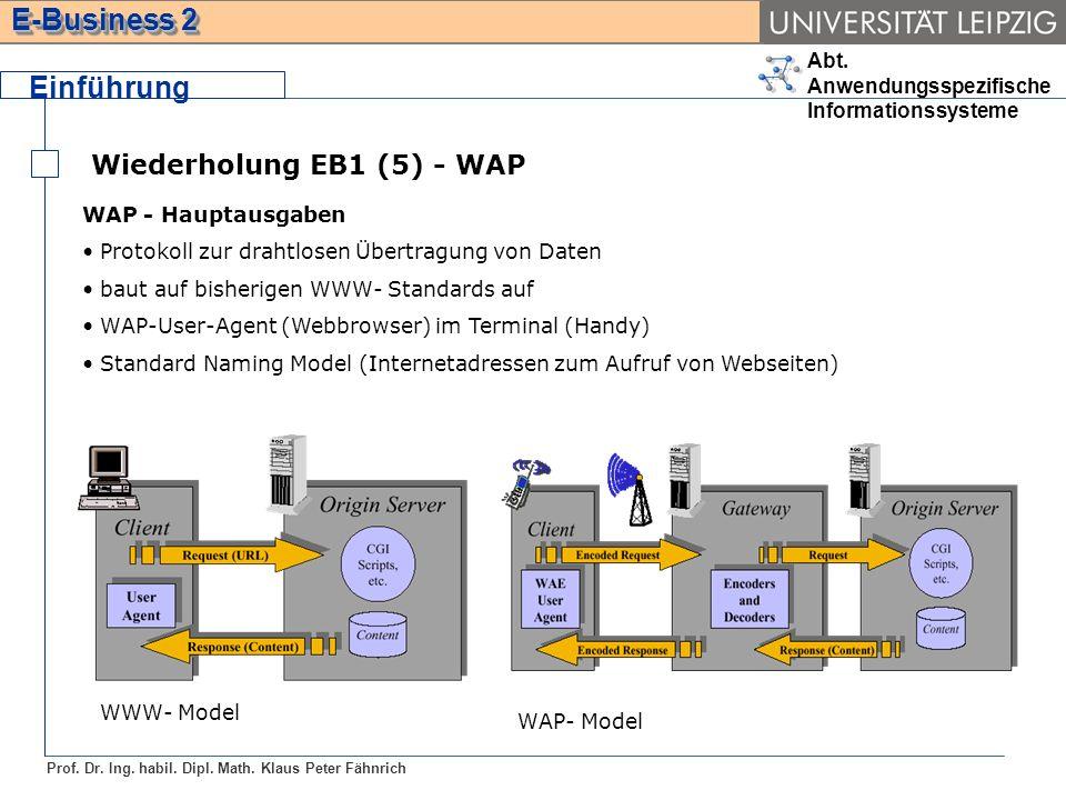 Abt. Anwendungsspezifische Informationssysteme Prof. Dr. Ing. habil. Dipl. Math. Klaus Peter Fähnrich E-Business 2 Wiederholung EB1 (5) - WAP Einführu