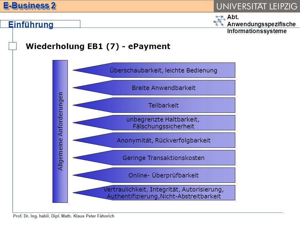 Abt. Anwendungsspezifische Informationssysteme Prof. Dr. Ing. habil. Dipl. Math. Klaus Peter Fähnrich E-Business 2 Wiederholung EB1 (7) - ePayment Ein