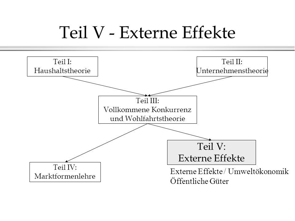 Teil V - Externe Effekte Teil I: Haushaltstheorie Teil II: Unternehmenstheorie Teil III: Vollkommene Konkurrenz und Wohlfahrtstheorie Teil IV: Marktformenlehre Teil V: Externe Effekte Externe Effekte / Umweltökonomik Öffentliche Güter