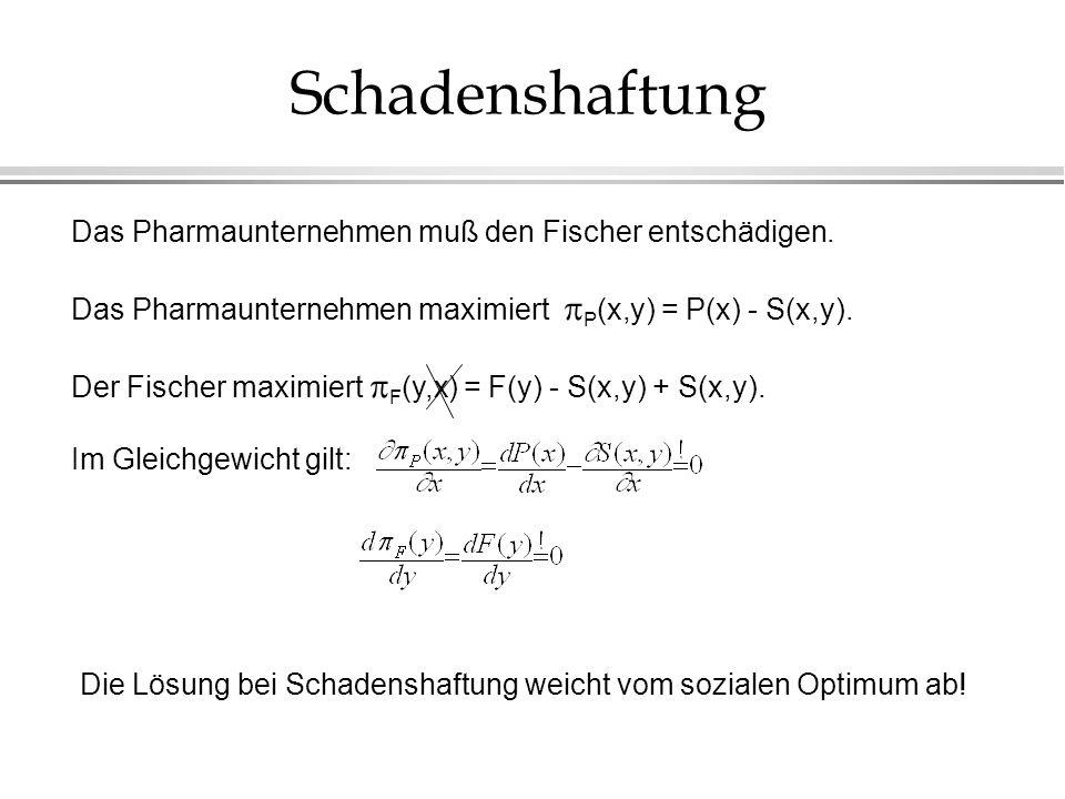 Schadenshaftung Das Pharmaunternehmen muß den Fischer entschädigen. Das Pharmaunternehmen maximiert P (x,y) = P(x) - S(x,y). Der Fischer maximiert F (