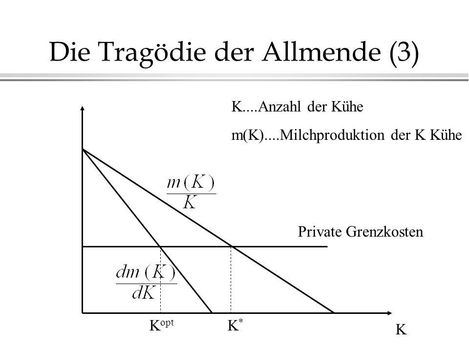Die Tragödie der Allmende (3) K Private Grenzkosten K....Anzahl der Kühe m(K)....Milchproduktion der K Kühe K*K* K opt