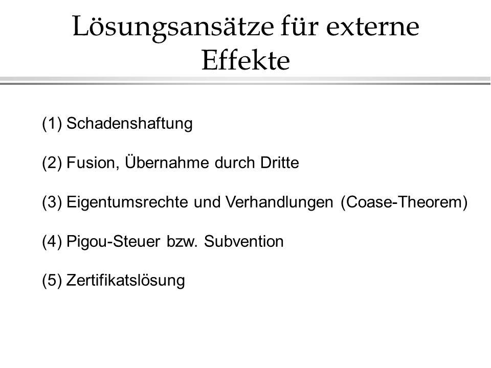 Lösungsansätze für externe Effekte (1) Schadenshaftung (2) Fusion, Übernahme durch Dritte (3) Eigentumsrechte und Verhandlungen (Coase-Theorem) (4) Pi